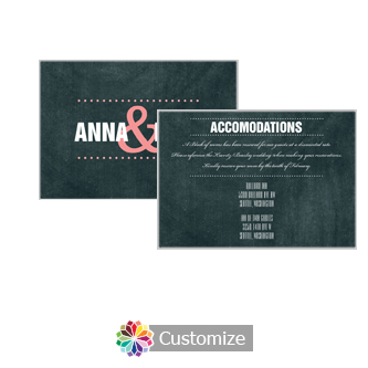 Romantic Photo Chalkboard 5 x 3.5 Accommodations Enclosure Card