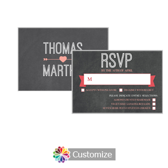 Hearts of Love Chalkboard Style 5 x 3.5 RSVP Enclosure Card - Dinner Choice