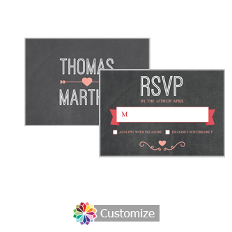 Hearts of Love Chalkboard Style 5 x 3.5 RSVP Enclosure Card - Reception