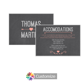 Hearts of Love Chalkboard Style 5 x 3.5 Accommodations Enclosure Card