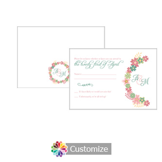 Floral Infinity Floral Wreath 5 x 3.5 RSVP Enclosure Card - Reception