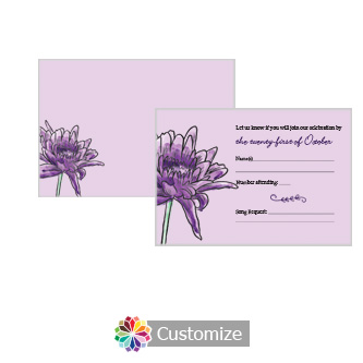 Floral Lovely Lavender 5 x 3.5 RSVP Enclosure Card - Reception
