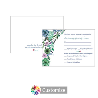 Floral Spring Meadow Flowers 5 x 3.5 RSVP Enclosure Card - Dinner Choice