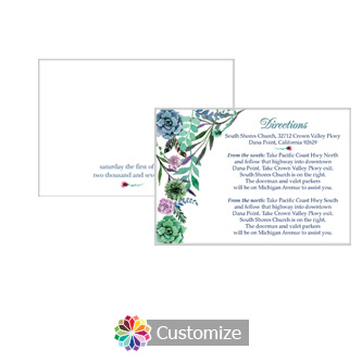 Floral Spring Meadow 5 x 3.5 Directions Enclosure Card