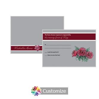 Floral Sweet Botanical Rose 5 x 3.5 RSVP Enclosure Card - Reception