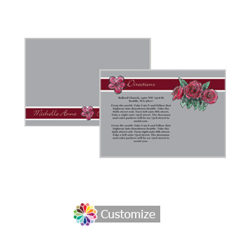 Floral Sweet Botanical Rose 5 x 3.5 Directions Enclosure Card