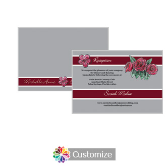 Floral Sweet Botanical Rose 5 x 3.5 Details Enclosure Card