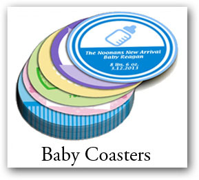 baby shower coasters, coasters with photo, custom photo coaster, coaster with logo