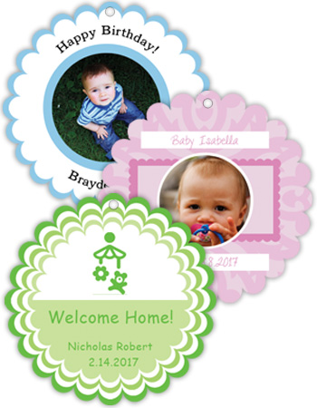 Baby Scalloped Circle Hang Tags