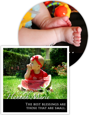 Baby Photo Labels with Text