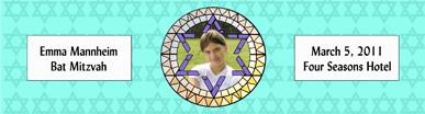 Mosaic Water Bat Mitzvah Label