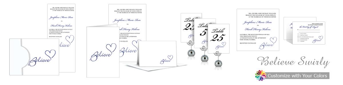 Believe Swirly Wedding Invitation