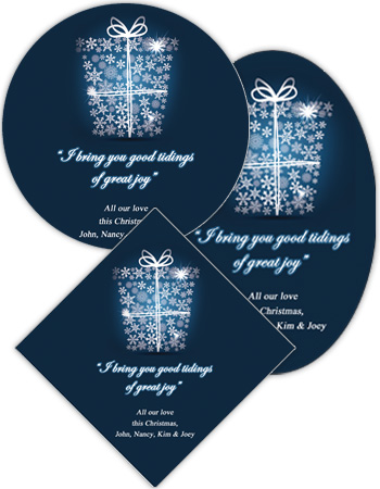 Big Present Ribbon Christmas Labels