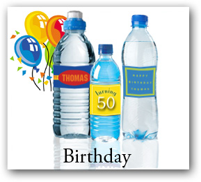 Birthday custom water bottle labels and bottle stickers