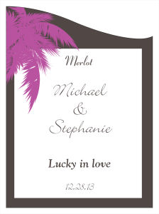 Caribbean Beach Wine Wedding Labels