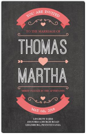 Chalkboard-Banner Hearts Wedding Invitations