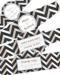 Chalkboard Chevron Cigar Band Wedding Labels