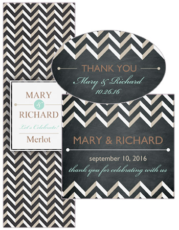 Chalkboard Chevron Wedding Labels