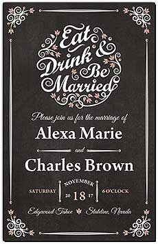 Chalkboard EatDrink Wedding Invitations