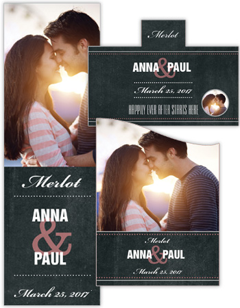 Romantic Photo Chalkboard Wedding Labels