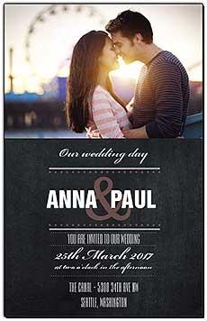 Chalkboard Photo Wedding Invitations
