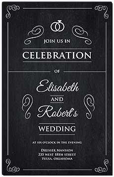 Chalkboard Rings Wedding Invitations