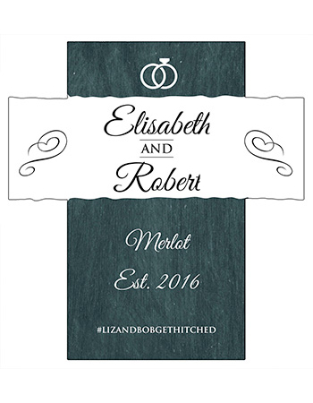 Chalkboard Rings Wine Wedding Labels