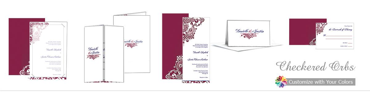Checkered Orbs Wedding Invitations
