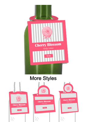 Cherry Blossom Body Lotion Bottle Neck Tags