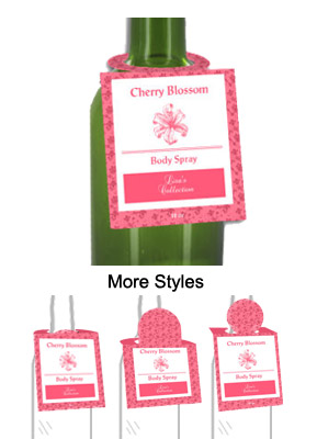 Cherry Blossom Body Spray Bottle Tags