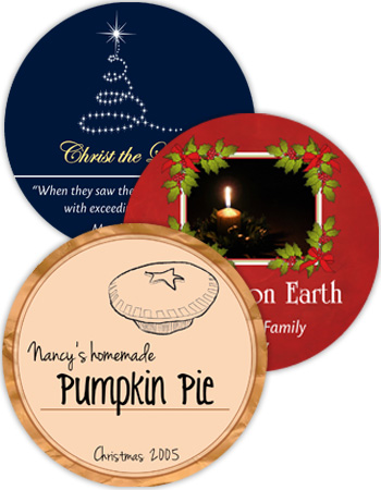 60 shapes & sizes Christmas Circle Labels