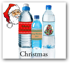 custom christmas water bottle labels