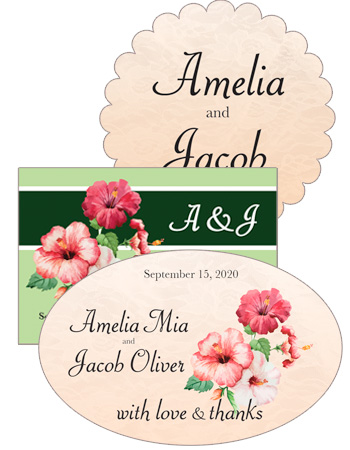 Coralbell Lace Wedding Labels