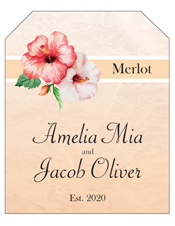 Coralbell Lace Wine Wedding Labels