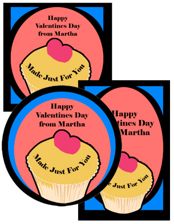 Cupcake food and craft labels