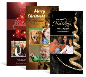 4 x 8 decorated tree christmas cards with photo family style - Custom Photo Christmas Cards