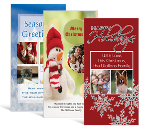 4 x 8 frosty and snow christmas cards with photo family style - Custom Christmas Cards