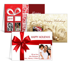 """6 shapes & sizes 7.875"""" x 5.50"""" Folded Presents, Ribbons and Bows Christmas Cards with Photo -"""