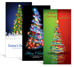 4 x 8 decorated tree holiday greeting cards business style - Custom Holiday Cards For Business