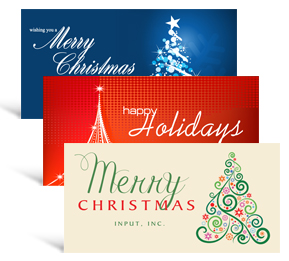 12 shapes sizes 8 x 4 decorated tree holiday greeting cards business style - Custom Christmas Cards For Business
