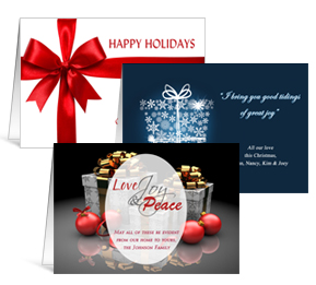"""6 shapes & sizes 7.875"""" x 5.50"""" Folded Presents, Ribbons and Bows Holiday Greeting Cards - Business"""