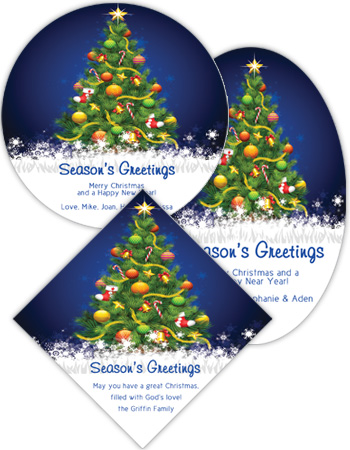 Decorated Christmas Tree Labels