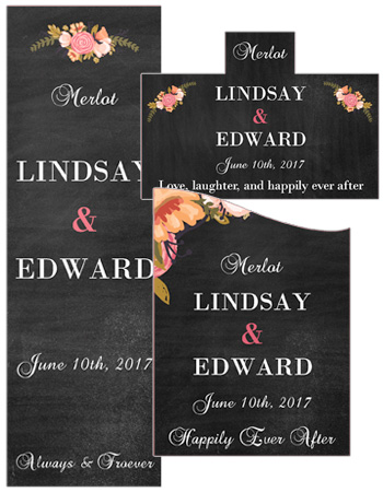 Floral Chalkboard Wedding Labels