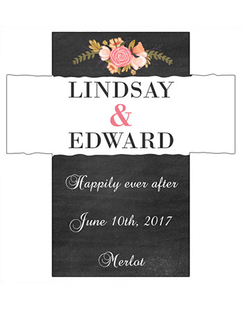 Floral Chalkboard Wine Wedding Labels