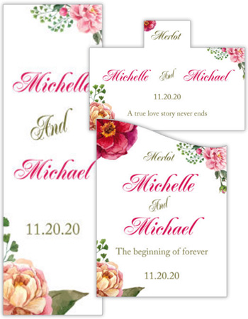 Floral Elegant Summer Poppy Wedding Labels