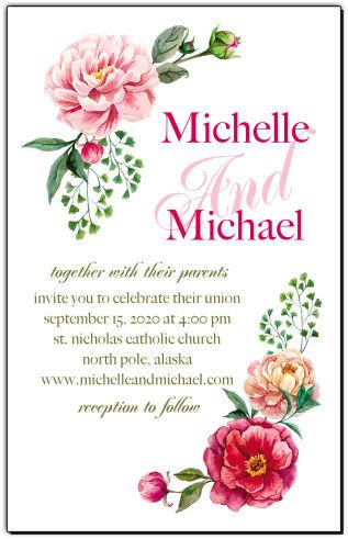 Floral Elegant Summer Poppy Wedding Invitations