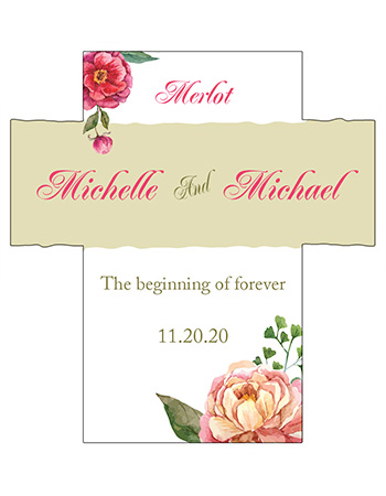 Floral Elegant Summer Poppy Wine Wedding Labels