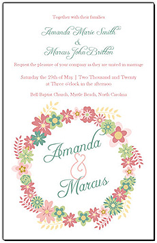 Floral Infinity Floral Wreath Wedding Invitations