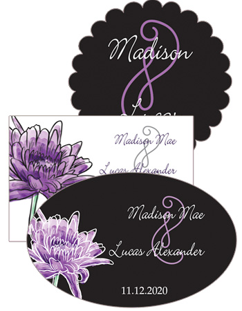 Floral Lovely Lavender Wedding Labels
