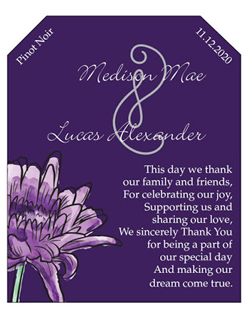 Floral Lovely Lavender Wine Wedding Labels